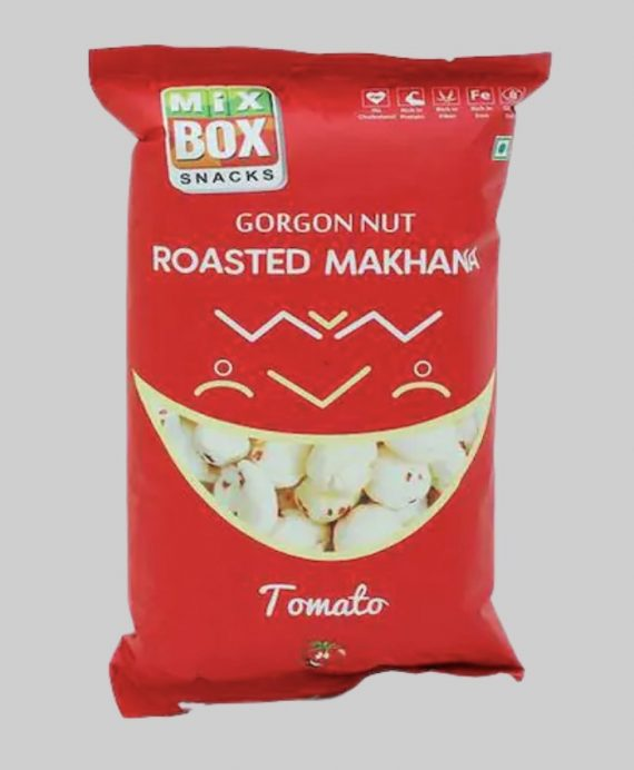 MIxbox box tomato flavoured makhana wrapped in a attractive red colour pack with a big smile on it.